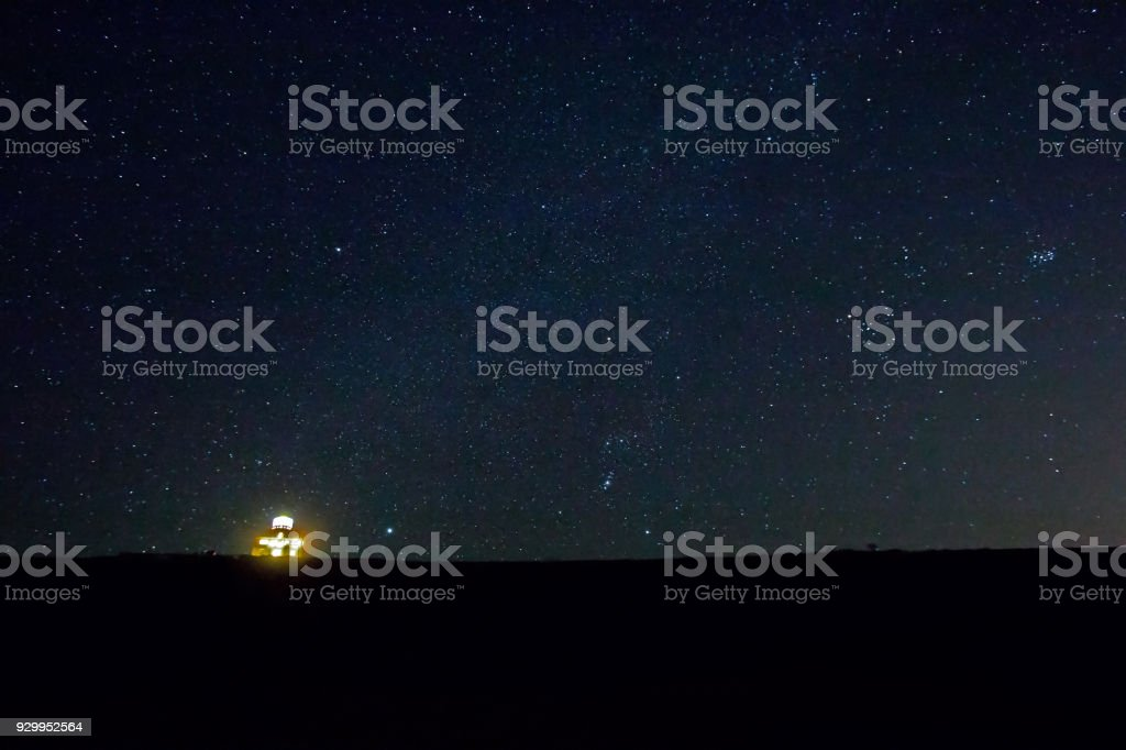 Belle Tout Lighthouse With Orion in Starry Sky stock photo