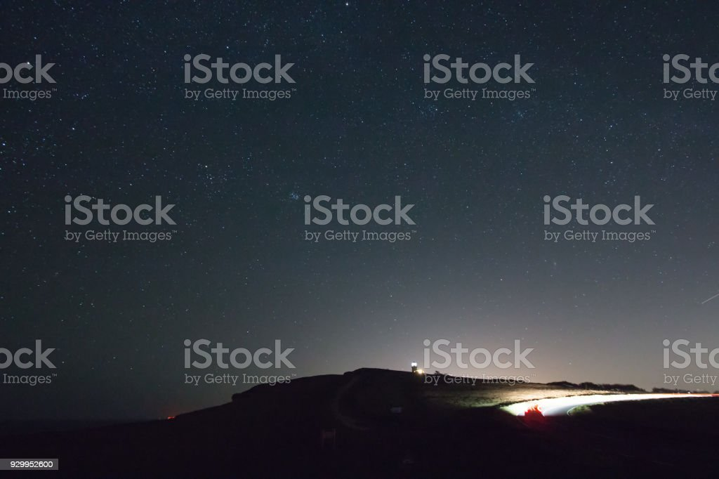 Belle Tout, Stars and Car Light Trails stock photo