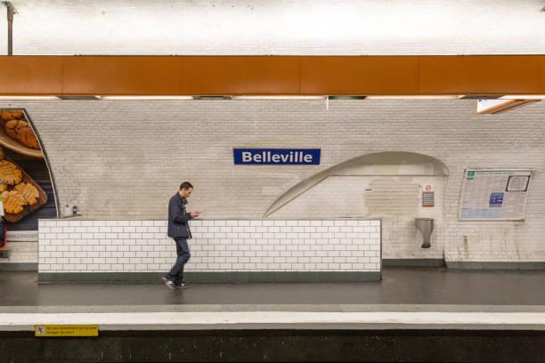 Belleville Metro Station in Paris, France stock photo