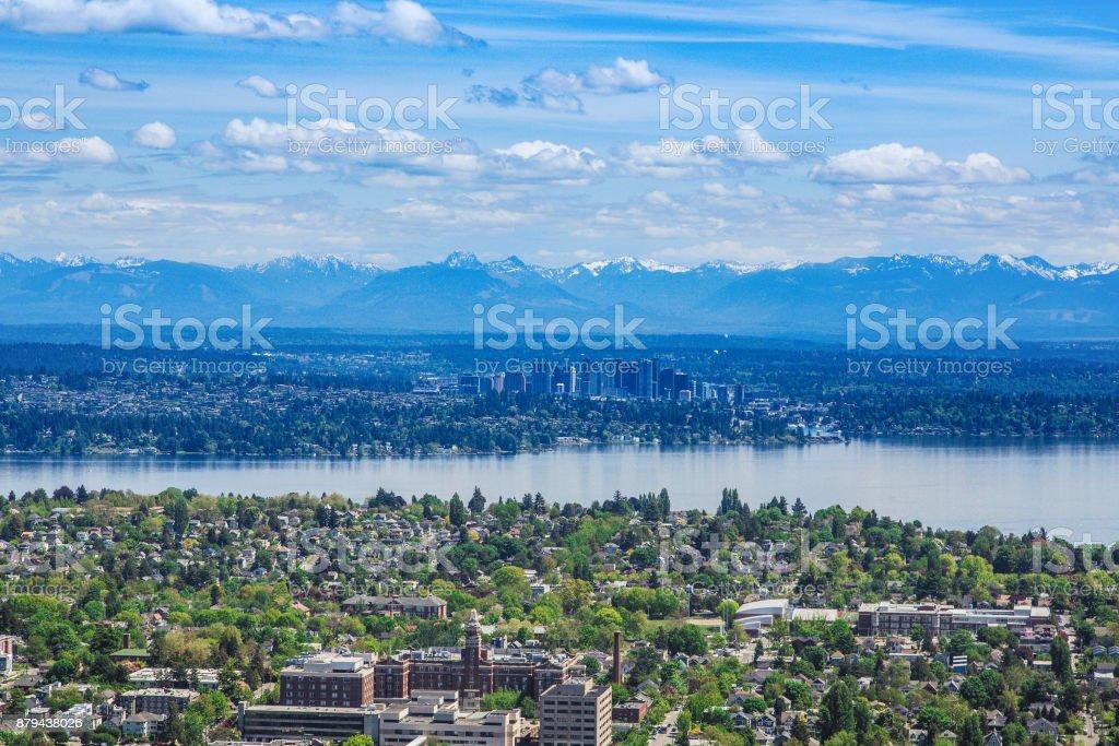 벨 뷰 및 시애틀에서 계곡 스톡 사진