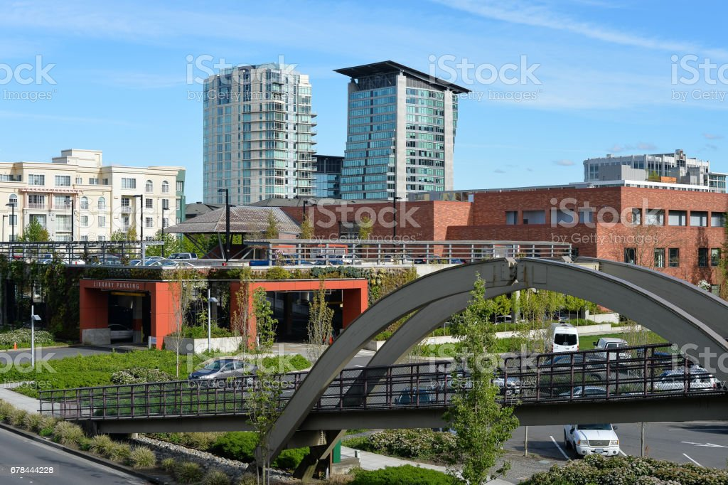 Bellevue Downtown in Spring stock photo