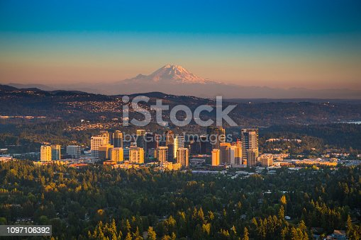 Downtown Bellevue, Washington with Mt. Rainier in background as seen from helicopter