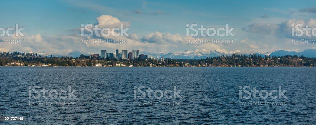 Bellevue Skyline And Cascades Panorama 6 stock photo