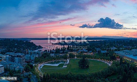 Bellevue Washington Aerial Landscape Above Park Downtown Sunset Looking Towards Seattle