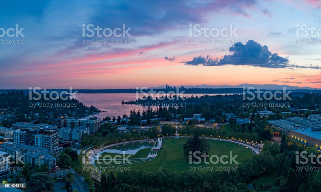 Bellevue Washington Aerial Landscape Above Park Downtown Sunset Looking Towards Seattle stock photo