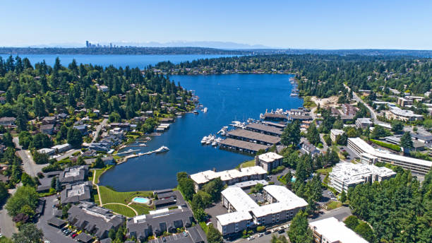 Bellevue Washington Aerial View of Meydenbauer Bay Whalers Cove stock photo