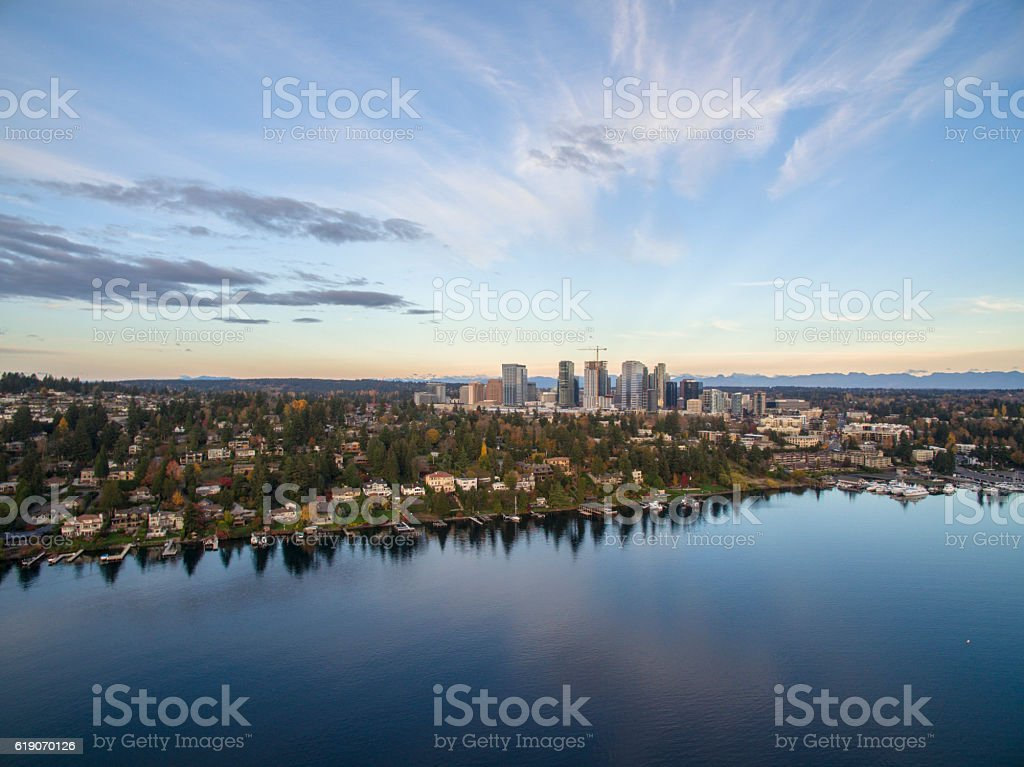 Bellevue Washington Aerial View 스톡 사진