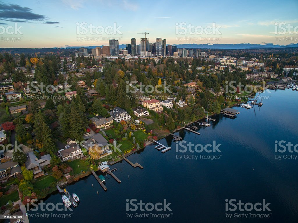 Bellevue Washington City Landscape Skyscrapers 스톡 사진
