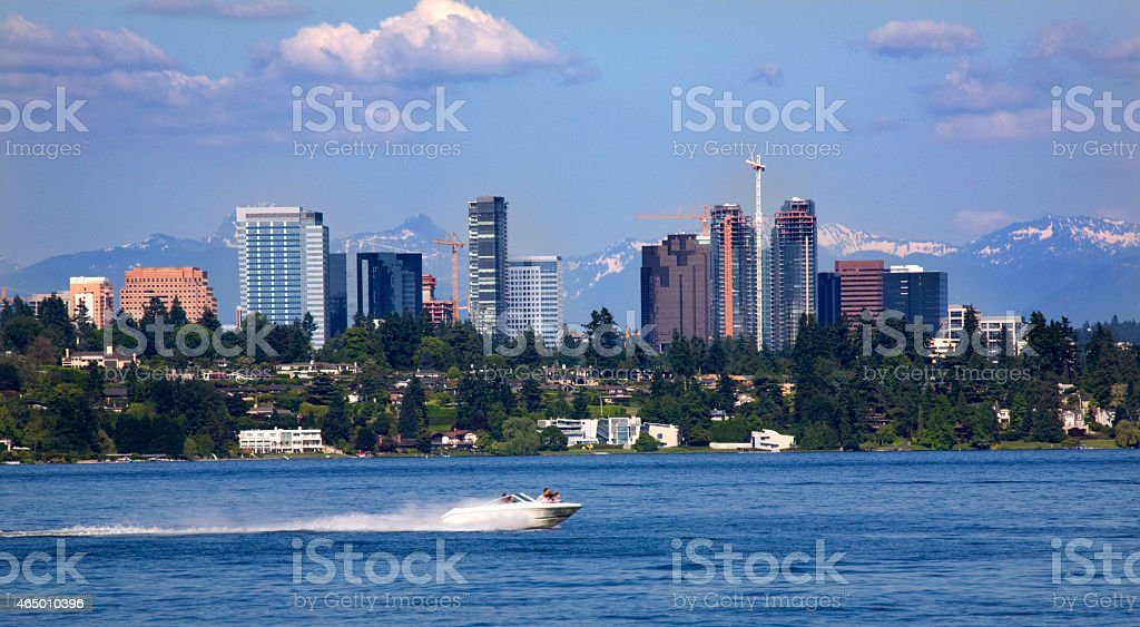Bellevue Washington from Lake with Mountains stock photo