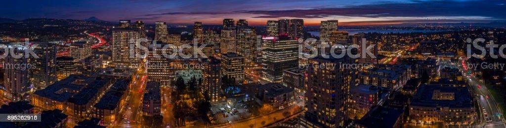 Bellevue Washington Night Sunset Downtown Panoramic Aerial View stock photo