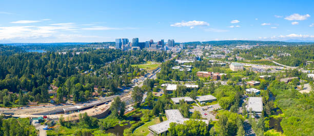 Bellevue Washington USA - City Skyline Panoramic Aerial View From Road Under Construction stock photo