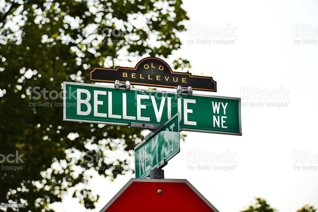 Bellevue Way NE & 복동 1 St 스톡 사진