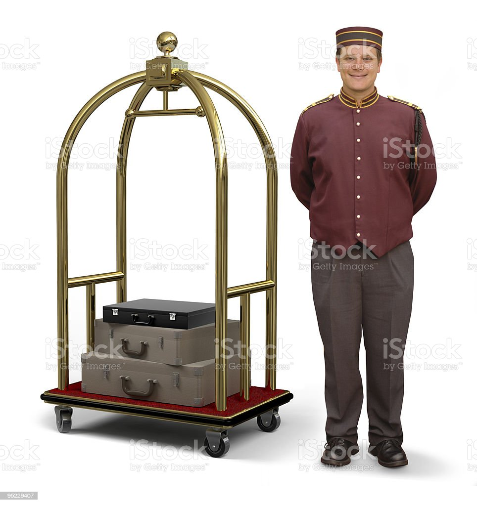 Bellhop with Luggage Cart royalty-free stock photo