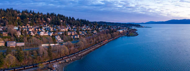 Bellingham Washington Aerial Landscape Panoramic Sunset View Looking Towards Fairhaven stock photo