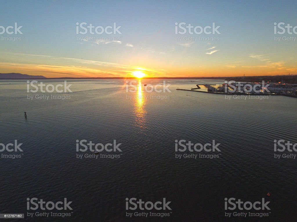 Bellingham, Washington Bay and Harbor at Sunset stock photo