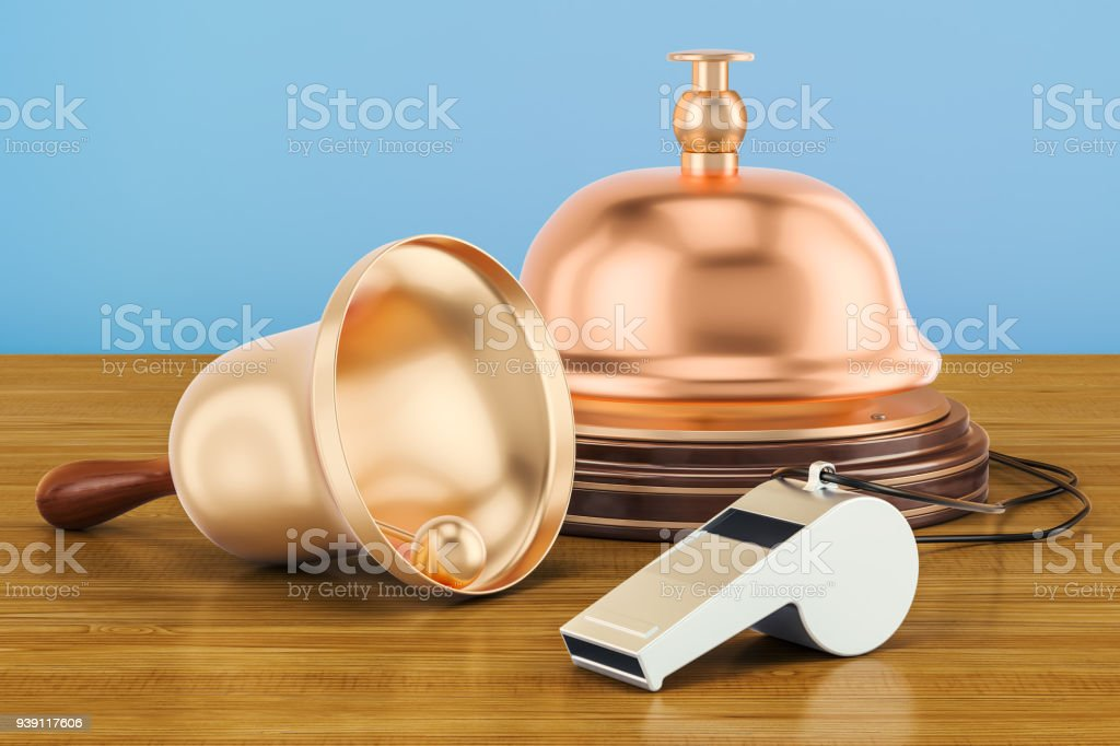 Bells and whistles concept on the wooden table. 3D rendering stock photo
