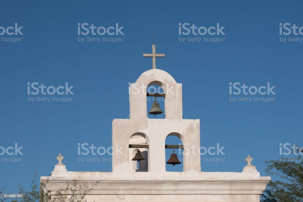 Bells at the Mission San Xavier del Bac Tucson, Arizona stock photo