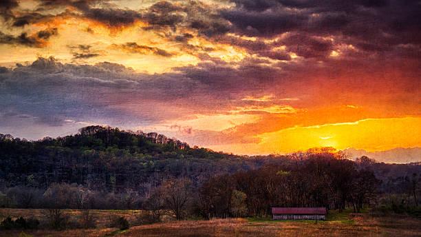 Bells Bend Barn at dusk stock photo