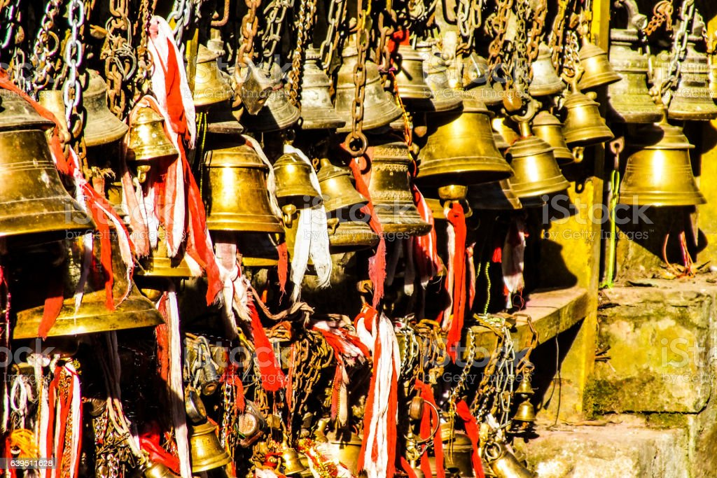 Bells in Nepal stock photo