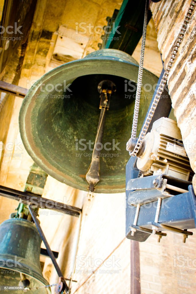 Bells in the bell tower of Seville Cathedral stock photo
