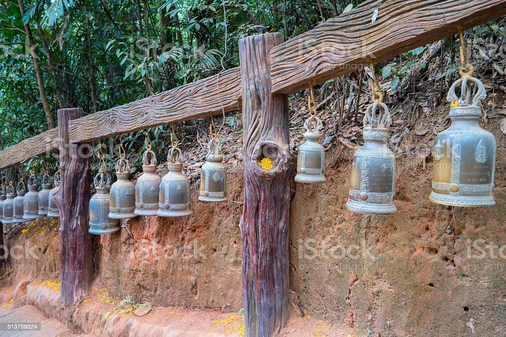 Bells of Wat Khao Khitchakut Phawanaram stock photo