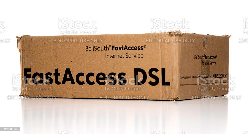 Bellsouth FastAccess DSL internet kit box side stock photo
