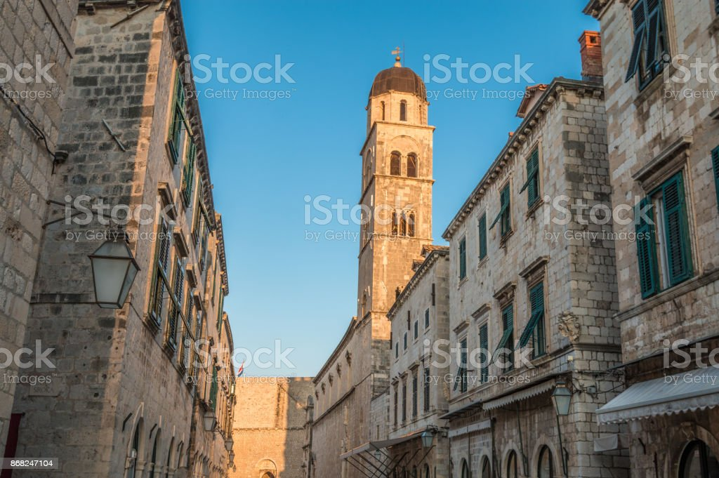 Belltower in Dubrovnik Croatia stock photo