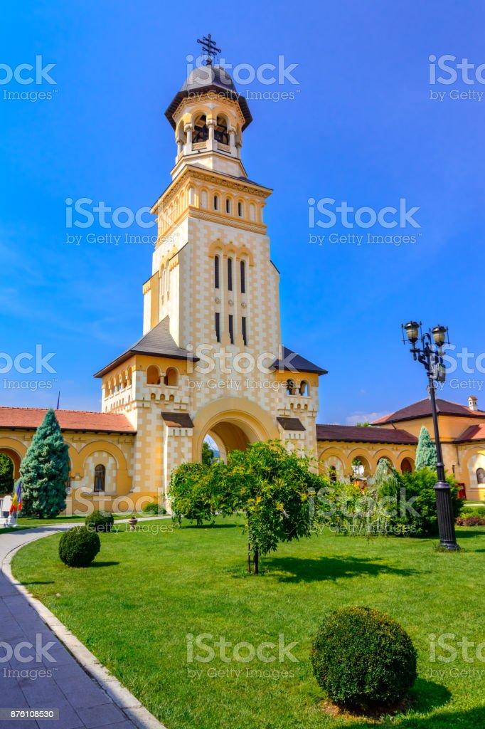 Belltower of Archiepiscopal Cathedral, Alba Iulia,Alba,Romania stock photo