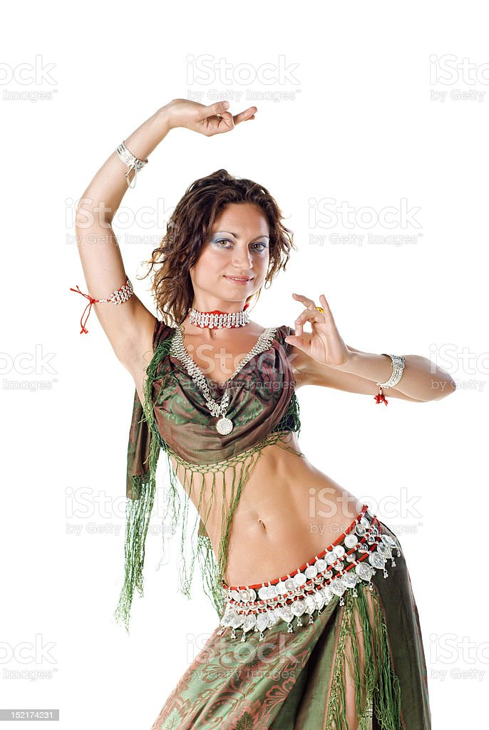 Belly Dancer in green royalty-free stock photo