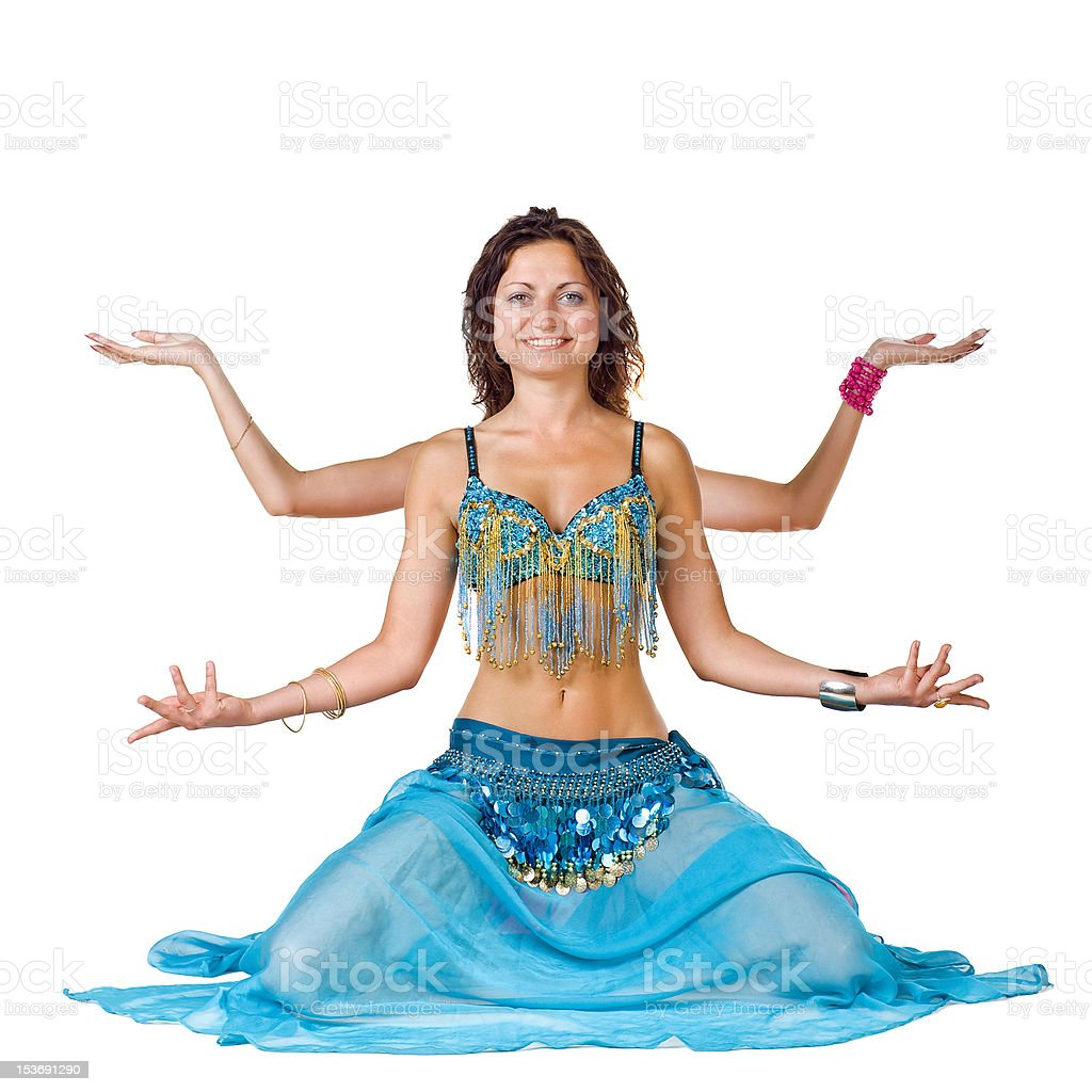 Belly Dancer sitting like Shiva royalty-free stock photo