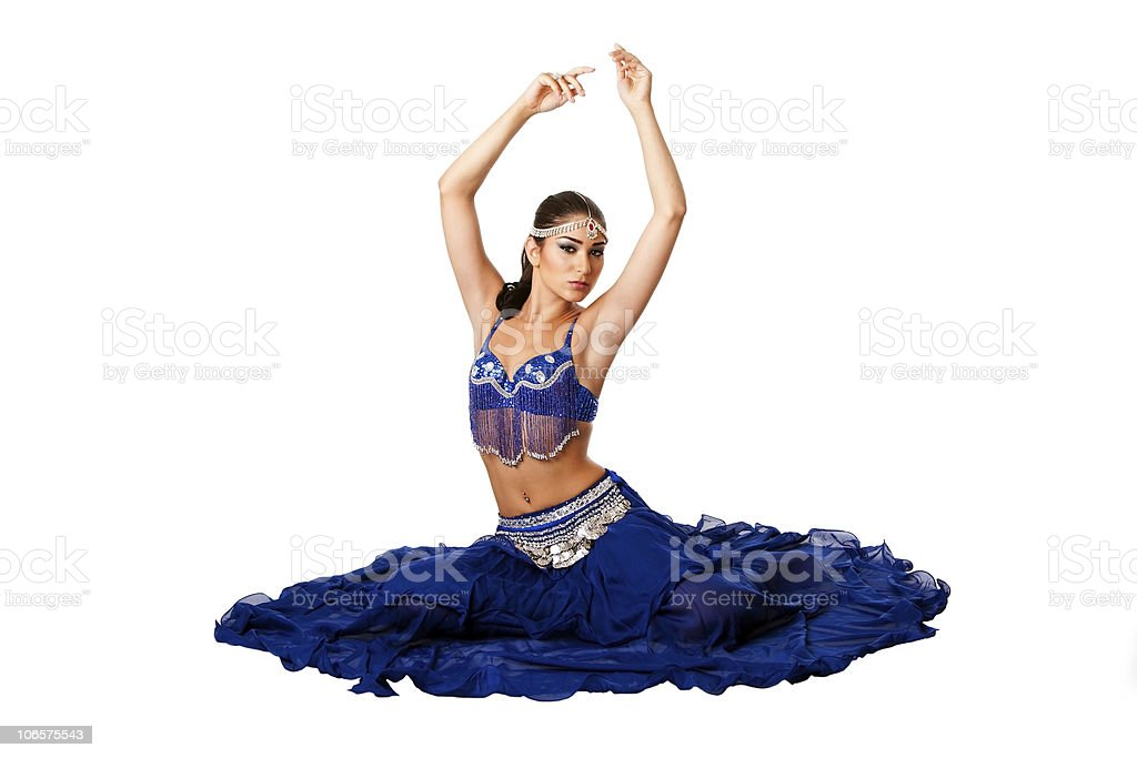 Belly dancer sitting on floor royalty-free stock photo