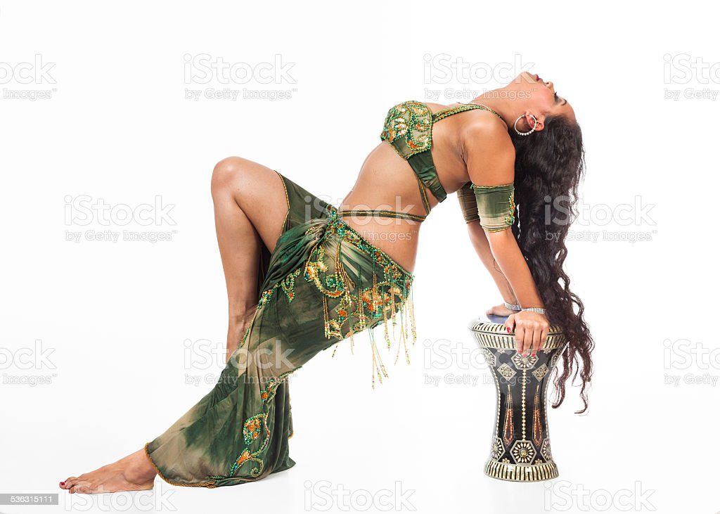 Belly dancer with drum stock photo