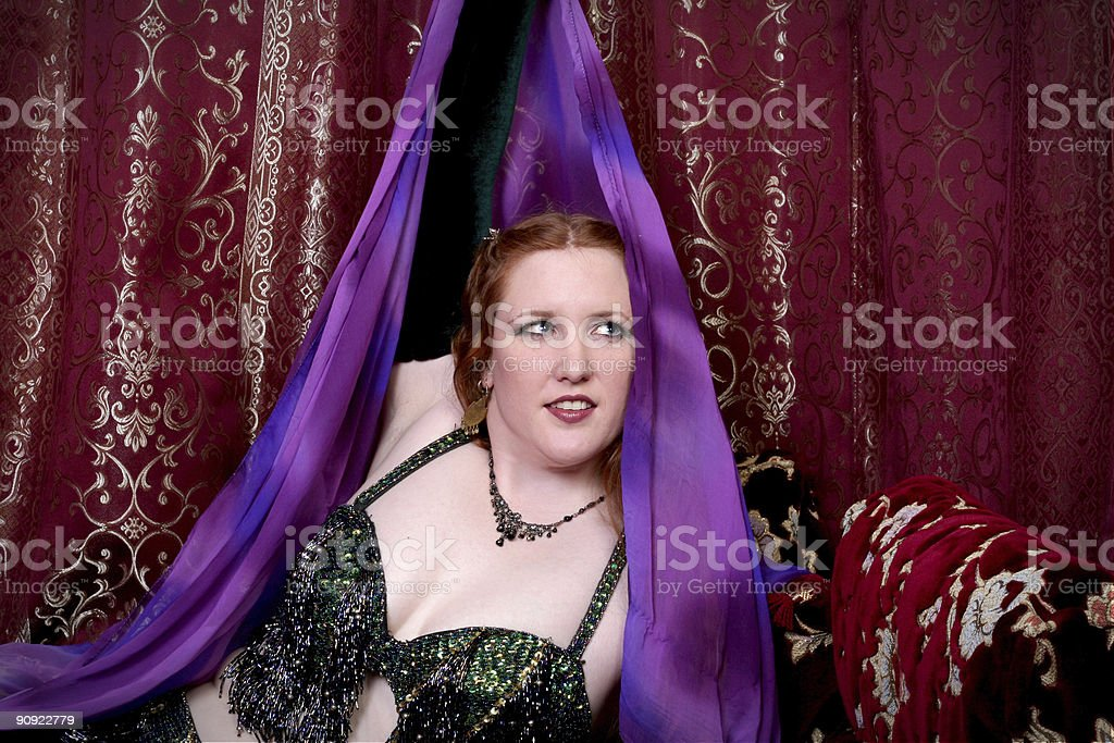 belly dancer with scarf royalty-free stock photo