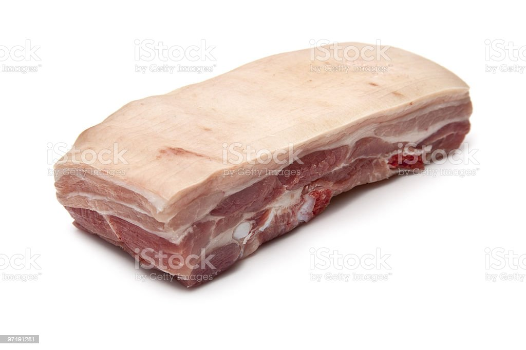 Belly pork uncooked isolated on a white background royalty-free stock photo