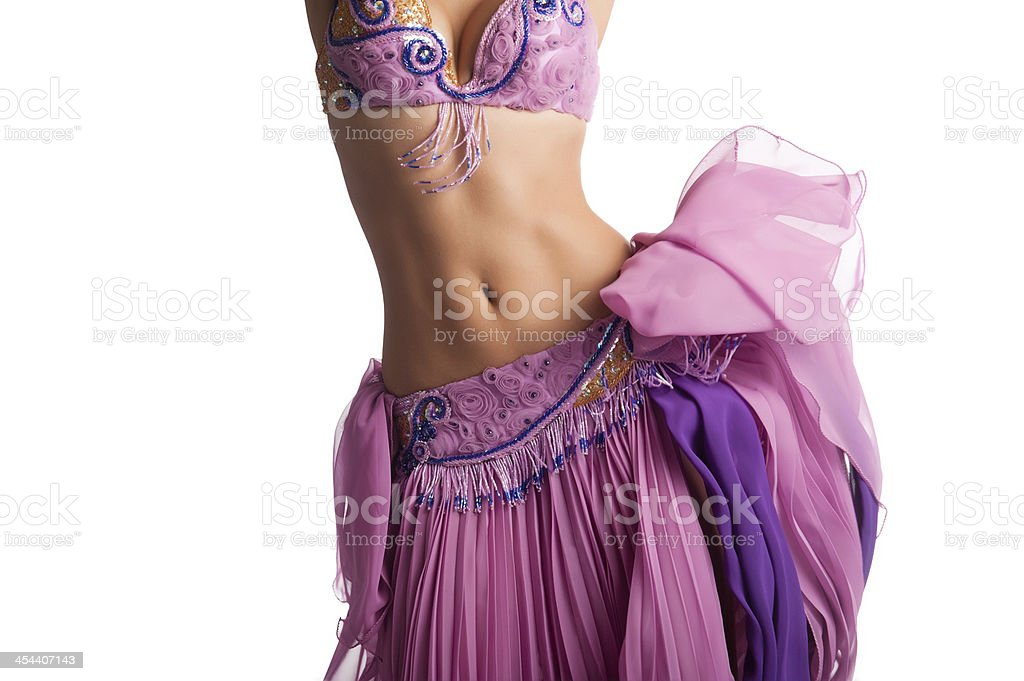 Bellydancer with Pink Costume Shaking Her Hips stock photo