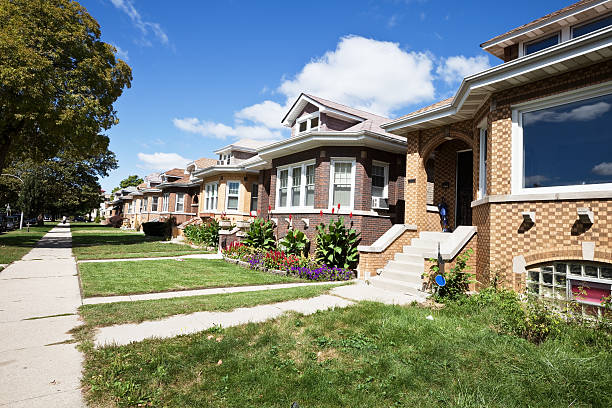 belmont cragin chicago bungalows - bungalow stock photos and pictures