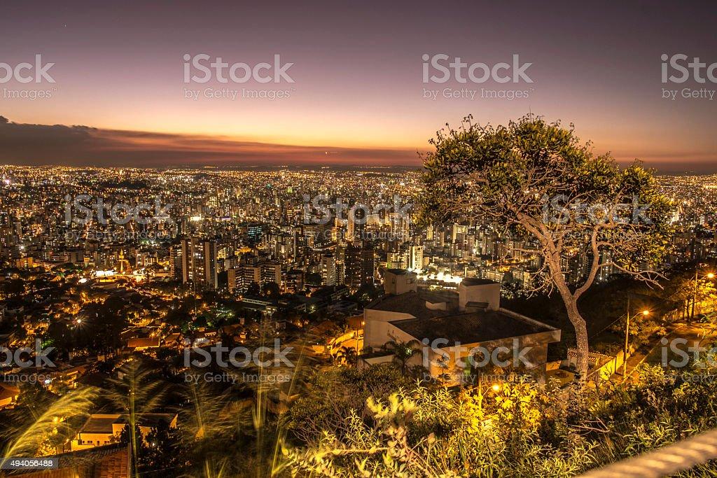 Belo Horizonte at night stock photo