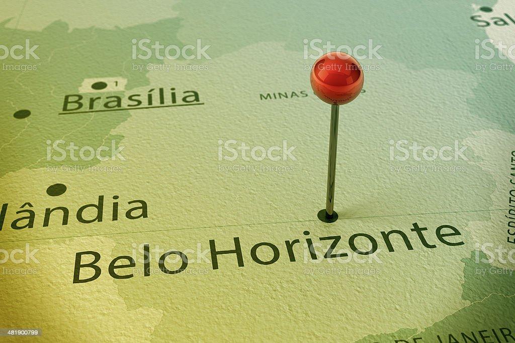 Belo Horizonte Map City Straight Pin Vintage stock photo
