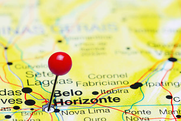 Belo Horizonte pinned on a map of Brazil stock photo