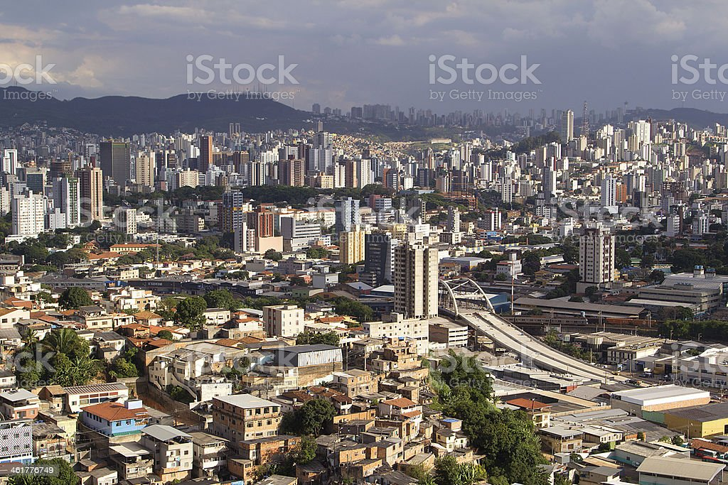 Belo Horizonte skyline during a cloudy day stock photo