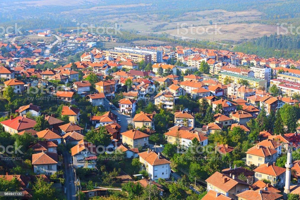 Belogradchik, Bulgaria town panorama stock photo
