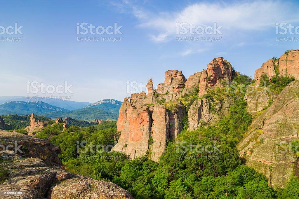 Belogradchik rocks in the early morning, Bulgaria stock photo