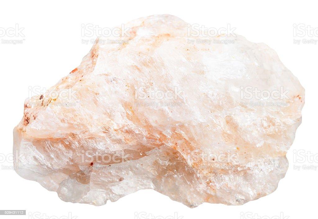 Belomorite (moonstone) rock isolated stock photo