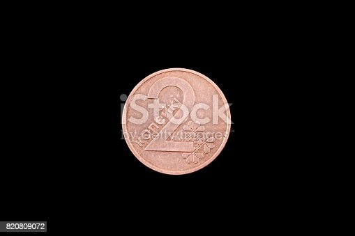 istock Belorussian two kopeck coin on black 820809072