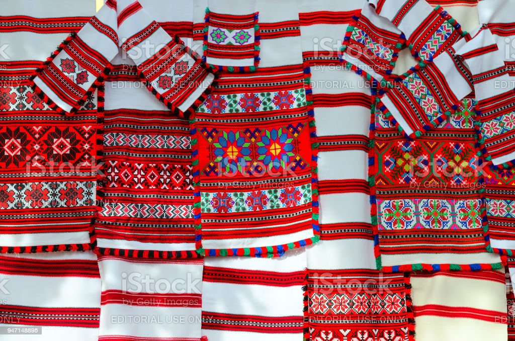 Belorussian woven towels with bright multi-colored geometric pattern stock photo
