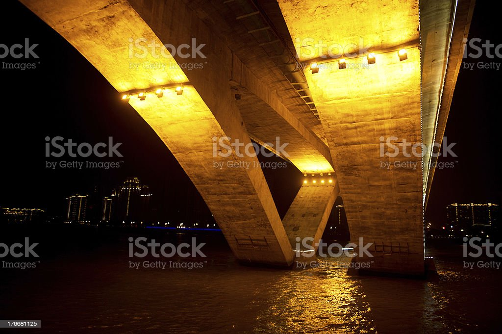 Below a Glowing Bridge royalty-free stock photo