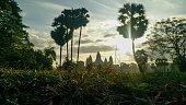Singular shot of the Angkor Wat at sunrise