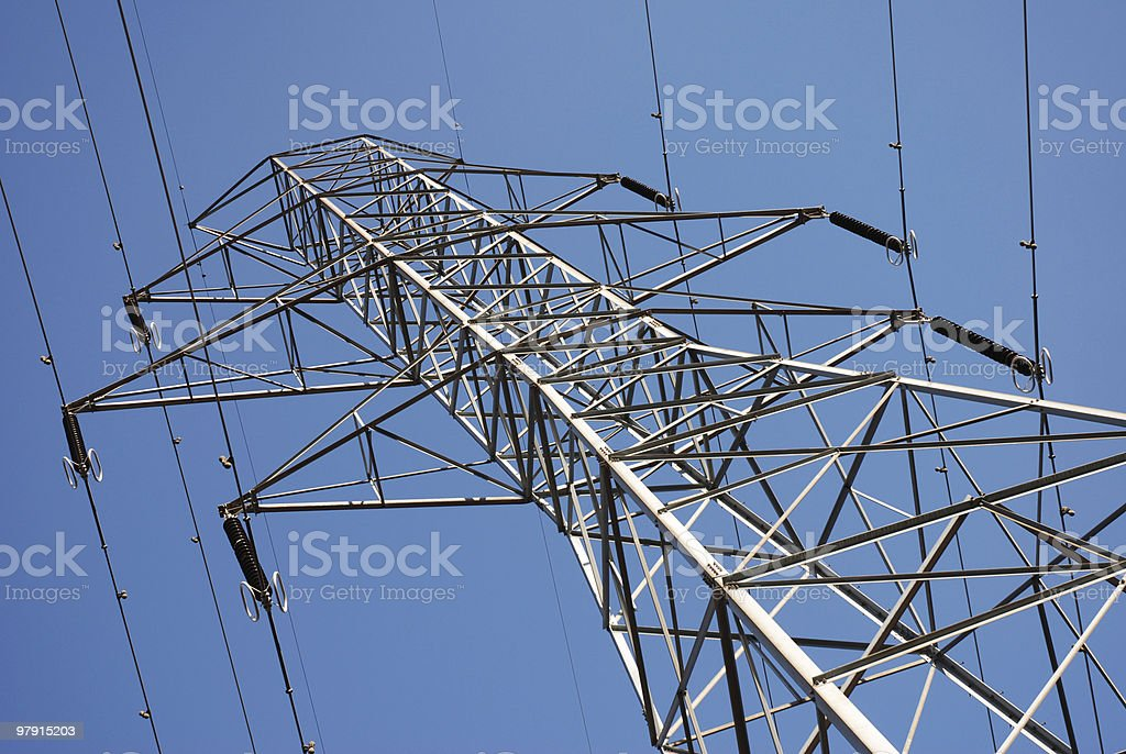 Below high voltage lines royalty-free stock photo