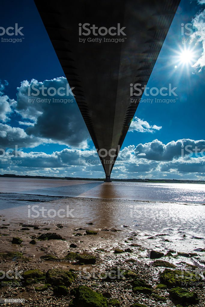 Below the Humber bridge, Yorkshire, UK. stock photo