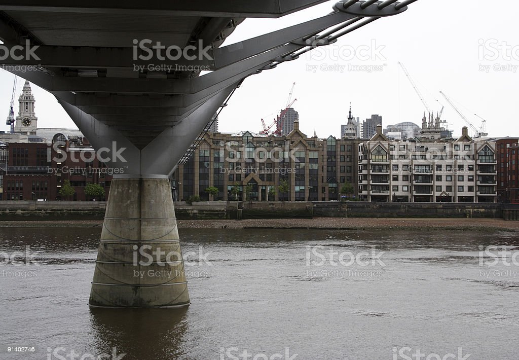 Below the Millenium Bridge stock photo